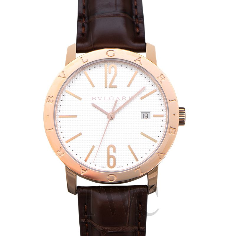 Bvlgari-White-Dial-18K-Pink-Gold-watches-for-men