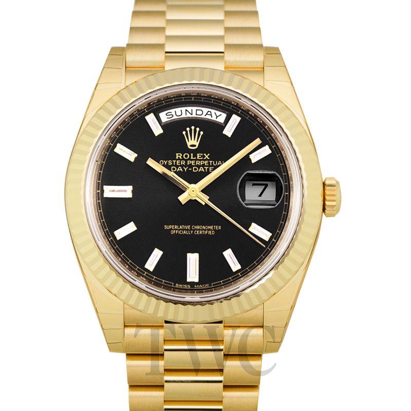 Rolex Day Date Black 18k Gold 40mm 228238-0004G