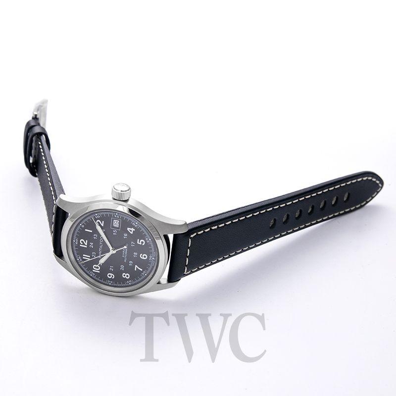 5536eb403 ... Hamilton Khaki Field Automatic Black Dial Stainless Steel Men's Watch  image 2 ...