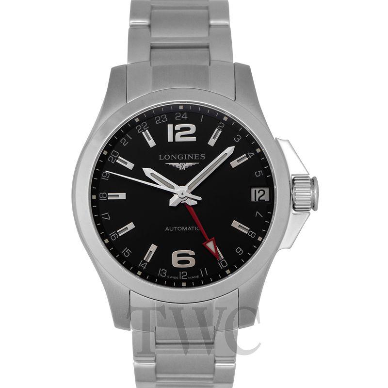 03e643e63 New LONGINES Conquest GMT Automatic Black Dial Men's Watch 41mm ...