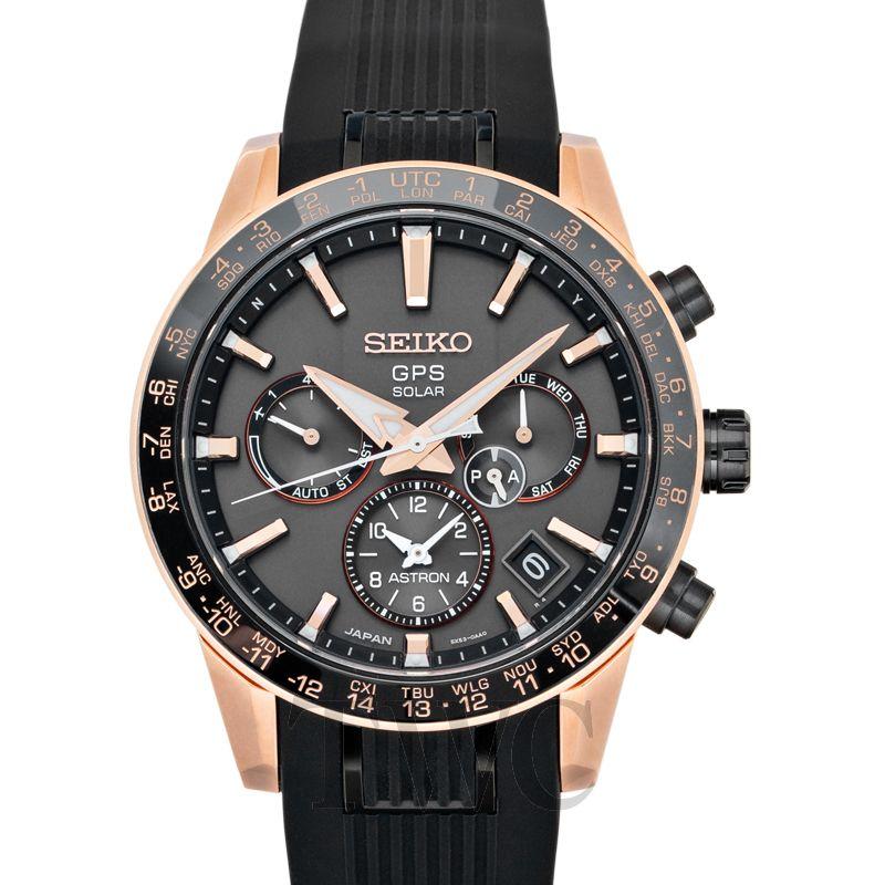 Seiko Astron GPS Solar 5X Caliber, Solar Watch, Black Strap, Orange Numerals, Automatic Watch